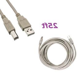 25FT FEET USB 2.0 A TO B PRINTER CABLE PC HP BROTHER CANON D