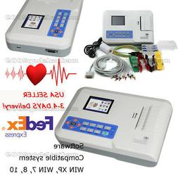 3-4 DAYS DELIVERY! 3 CHANNEL 12 LEAD COLOR ECG EKG Machine P