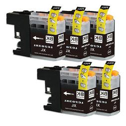 5 NEW Black Printer Ink for Brother Series LC203 LC201 MFC J
