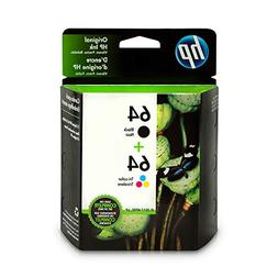 HP 64 Black & Tri-Color Original Ink Cartridges, 2 Cartridge