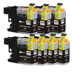 7 BLACK Printer Ink with chip for Brother LC201 LC203XL MFC