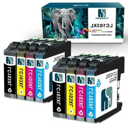 8 PK High Yield LC103XL Ink Set For Brother LC103 DCP-J285DW