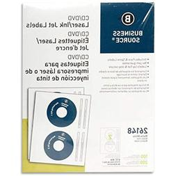 Business Source CD/DVD Labels For Laser And Inkjet Printers
