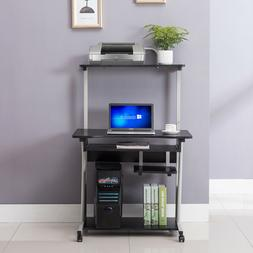 Computer Table Black Desk Laptop Rolling Stand Home  w/Print