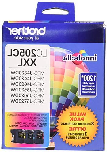 Brother Yield Color Ink LC2053PKS, Replacement Color Three 1 Cartridge of Magenta & Yellow, Yield To Pages/Cartridge, LC205