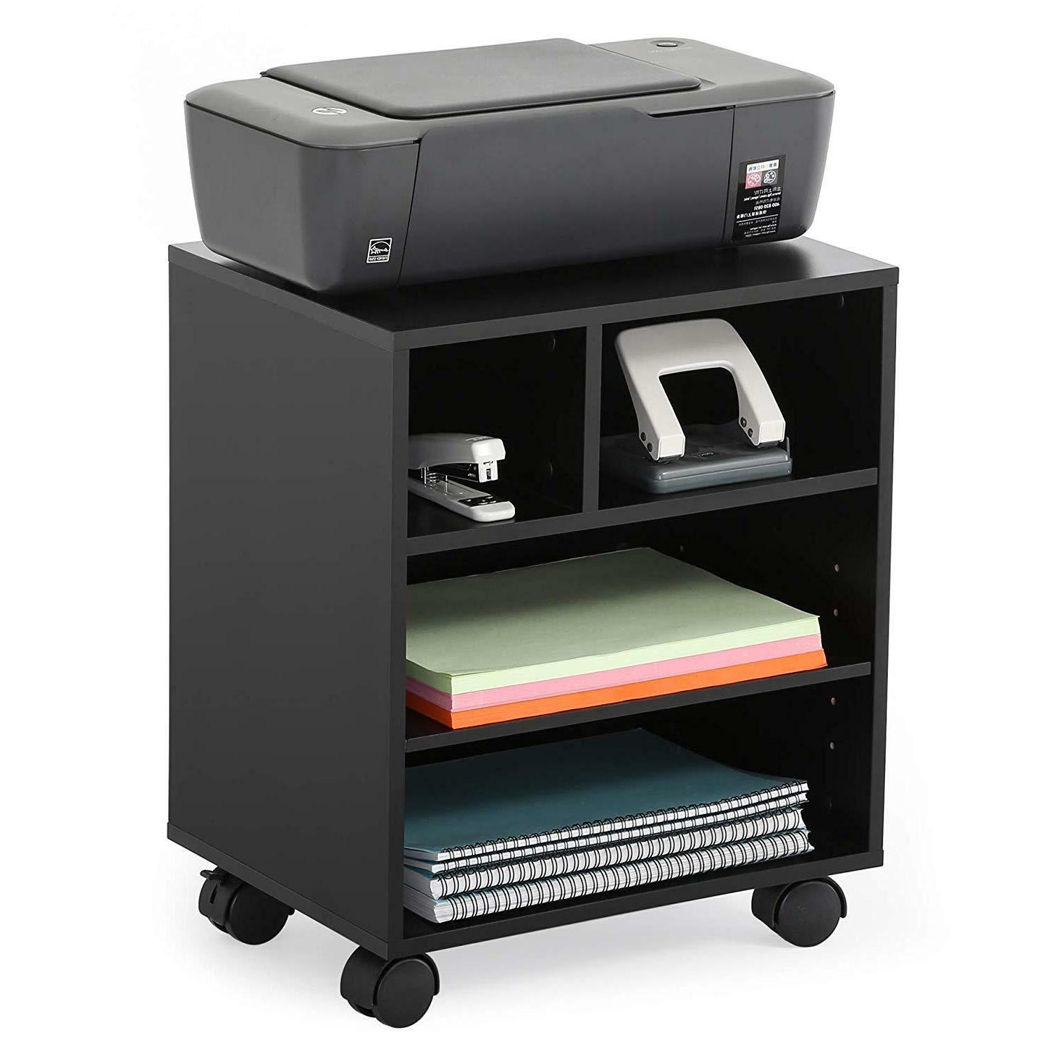 Rolling Printer Stand Cart Floor Shelf With Wheels Book Pape