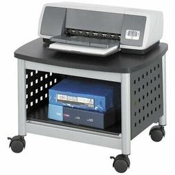 Under-Desk Printer Stand Mobile Office Cart in Black and Sil