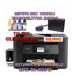 Epson WF-3720 Sublimation Printer Bundle with CISS Kit, Subl