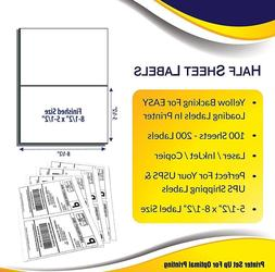 """Yellow Backing Shipping Address Labels 8.5"""" X 5.5""""  for Lase"""
